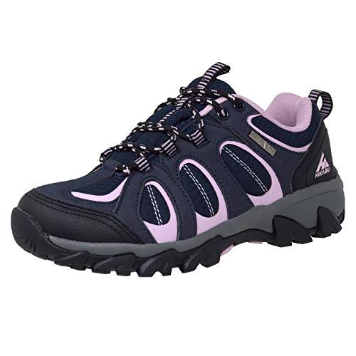 Minify Hikabu - Scarpe da trekking da donna, taglia 37-41, suola in gomma, per attività all'aperto, trekking, passeggiate, Multicolore (nero/lilla), 40 EU