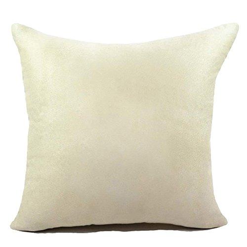 KAMIXIN - Fundas de cojín o almohada cuadradas de ante para el hogar, de colores lisos, para sofá, cama o asiento de coche, tela, crema, 40x60cm=16'x24'