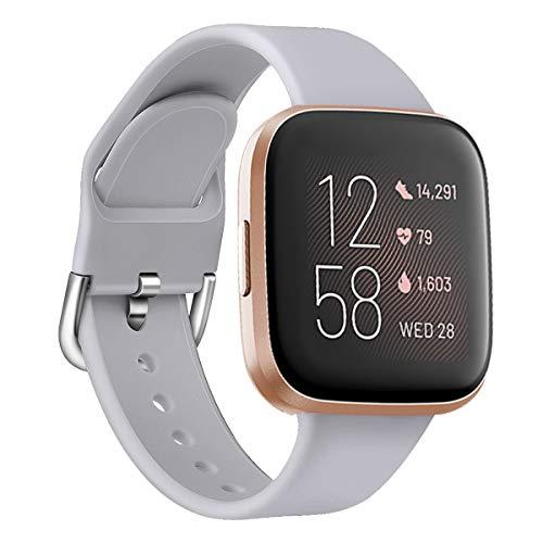 Oihxse Silicona Ajustable Correa Compatible con Fitbit Versa/Versa Special Edition/Fitbit Versa 2/Versa Lite Watch Deportivo Suave Reemplazo Delgada Pulsera Accesorio Mujer Hombre (Gris,S)