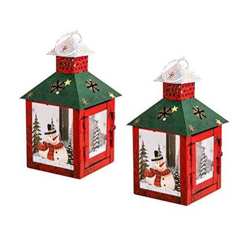 Uonlytech 2 Stücke Weihnachtskerzenhalter Vintage Schmiedeeisen Winddicht Wind Licht Kreative Painted Desktop Ornament Wind Lampe Anhänger Weihnachtsdekor Liefert (Ecke wind licht, Rot)