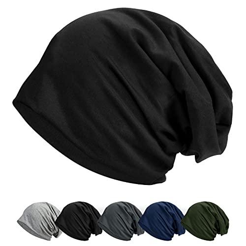 ECOMBOS Mütze Damen Slouch Beanie Mütze Baumwolle Weich Leicht Longbeanie Unisex (Schwarz)