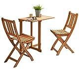 SAM 3-TLG. Balkongruppe Alessio, 1x Tisch 70x45 cm + 2X Klappstuhl, Balkon-Set aus Akazien-Holz, FSC® 100% Zertifiziert