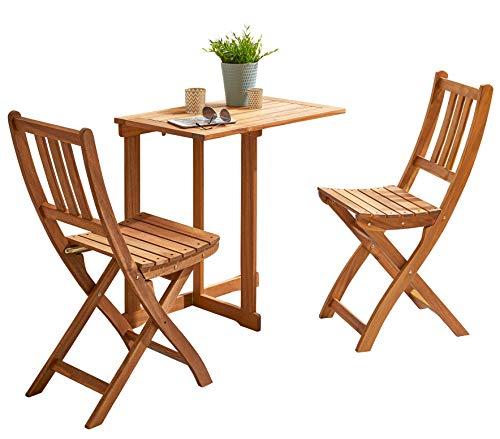SAM 3-TLG. Balkongruppe Alessio, 1x Tisch 73x60 cm + 2X Klappstuhl, Balkon-Set aus Akazien-Holz