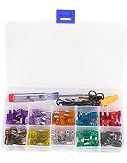KKmoon Mini Car Fuse Kit 100pcs Color Coded for Ten Amps Fuses with Alligator Clip Electric Tester Tweezer Fuse Puller