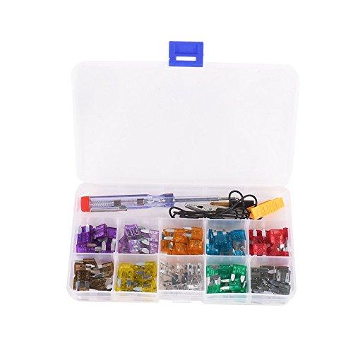 KKmoon Mini Auto Sicherung Kit für zehn Ampere Sicherungen mit Alligator-Clip elektrische Tester Pinzette Sicherung Puller farbcodierte 100pcs