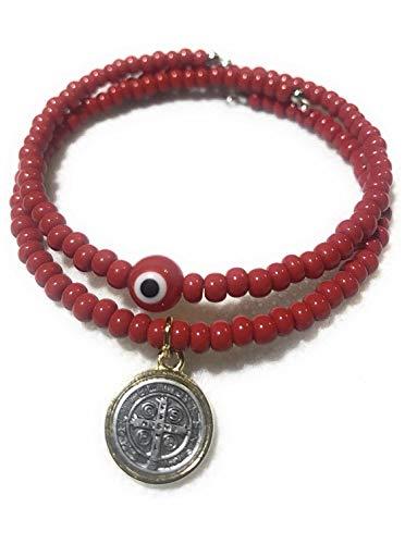 Chavarrieta Set of 2 Red Evil Eye and Saint Benedict Memory Wire Bracelets. Set de dos pulseras de Memoria de San Benito y ojo turco Rojo