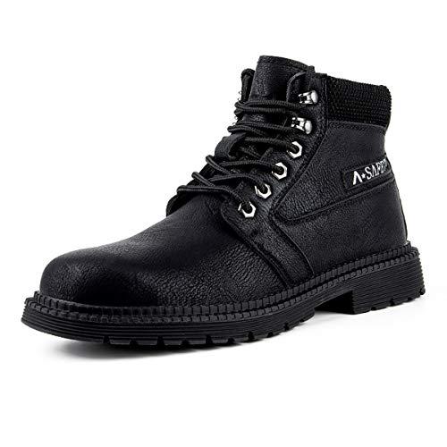 Aingrirn Calzado de Seguridad Hombre Trabajo Impermeable, Anti PinchazoZapatos de Industria y Construcción con Punta de Acero (Color : Black, Size : 36 EU)