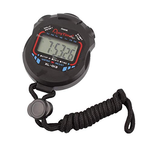 AnFun Waterproof Multi-Function Electronic Sports Stopwatch Timer Water Resistant Large Display with Date Time and Alarm Function,Ideal for Sports Coaches Fitness Coaches and Referees