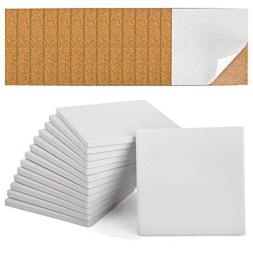 Ceramic Tiles for Crafts Coasters,14 Pack 4-Inches Unglazed Ceramic Coasters for Drinks with Cork Backing Pads,Use with Alcohol Ink or Acrylic Pouring Make Your Own DIY Coasters (Square)