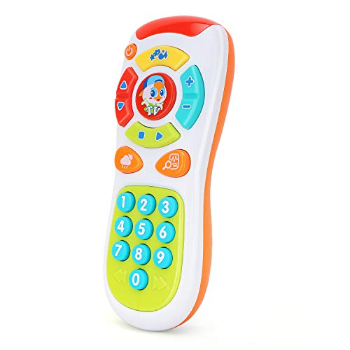 Zooawa Baby Remote Control, Early Development Educational Learning Lights Remote Toy, Click & Count Electronic Phone Toy with Music for Kids Toddler Infants - Colorful
