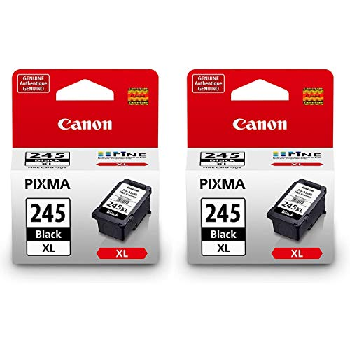 Canon 2 Pack PG-245 XL High Capacity Black Ink Cartridge for PIXMA MG Printers - 12ml