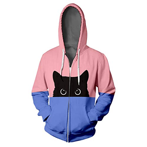 Opinionated Women's Hoodie Couple Hooded Lover Cat Print Hoodie Tops Hip Hop Zipper Color Stamped Long Sleeve Blouse Coat Pink