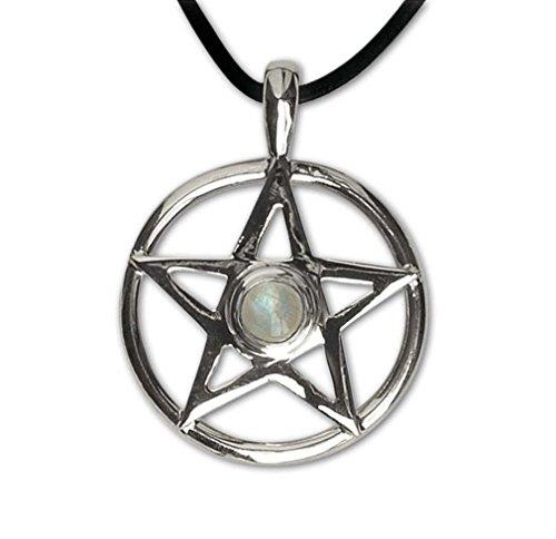 Anhänger Amulett Pentagramm mit Mondstein 925 Sterling Silber