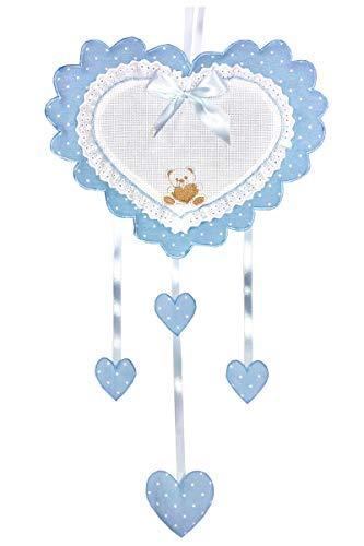 Fiocco Nascita/Coccarda Cuore Azzurro con inserto in aida da ricamare a punto croce con ricamato un orsetto Lavorato del tutto a mano