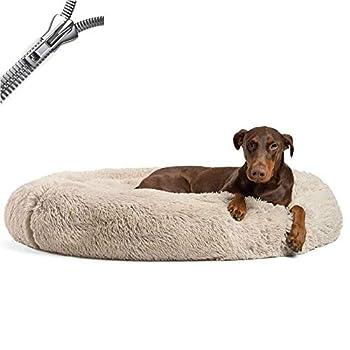 Puppy Love Panier Chien, Paniers Et Mobilier pour Chiens, Orthopedique Rond Apaisant Panier pour Chien Moyen Grand Taille DonutBrown-50cm
