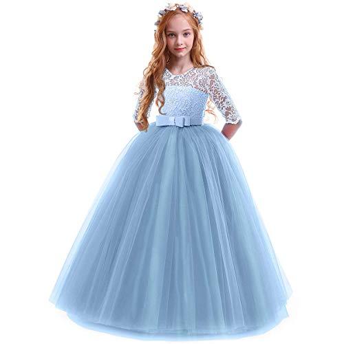 OBEEII Prinzessin Kleid Mädchen Abendkleid für Hochzeit Brautjungfer Blumenmädchen Geburtstag Party Jugendweihe Fasching Cocktail Dance Ballkleid Blau 3-4 Jahre