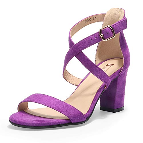 IDIFU Women's IN3 Grace Strappy Block Heels Sandals Comfy Open Toe Chunky Dress Wedding Shoes with Adjustable Cross Strap (Lavender Suede, 10 M US)