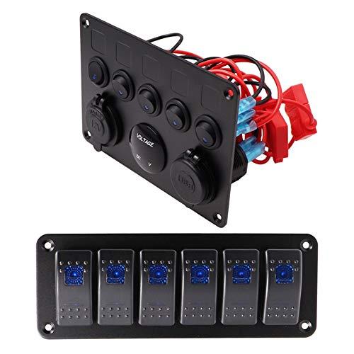 LIUXIAOKE Panel de interruptores de automóviles de Barco 12V Outlet Panel de zócalo Azul LED Voltímetro Dual USB Adaptador de alimentación Cargador Ajuste para Barco Barco Marine RV TR