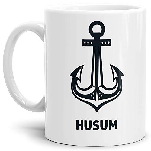 Tassendruck Anker-Tasse Husum Seemann/Hafenstadt/Küste/Souvenir/Kaffeetasse/Mug/Cup