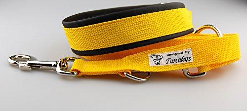 Twinkys Dog Style Hond Trek Stop Halsband Set met linnen geel voor grote honden omtrek 45cm plus 10cm trekstop, breedte 4cm