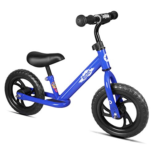 JOYSTAR 12' Balance Bike for Boys & Girls 1 2 3 4 5 Years Old, Push Bike for Toddlers with Footboard and Handlebar Protect Pad, Kids Glider Bike, Blue