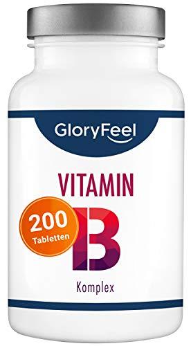 Vitamin B Komplex - Vergleichssieger 2020* - 200 vegane Tabletten (7 Monate) - Alle 8 B-Vitamine (u.a. Biotin, B12 und Folsäure) - Laborgeprüft, hochdosiert und ohne Zusätze hergestellt in Deutschland