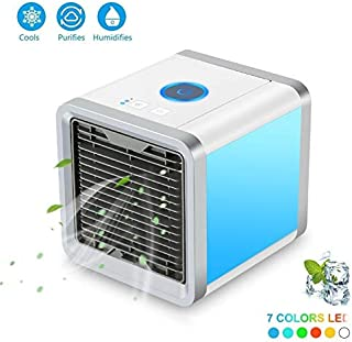 ZNLEY.O Heated Towel Rail Mini USB Portable Air Conditioner Air Cooler Humidifier Purifier 7 Colors LED Light Desktop Air Cooling Fan