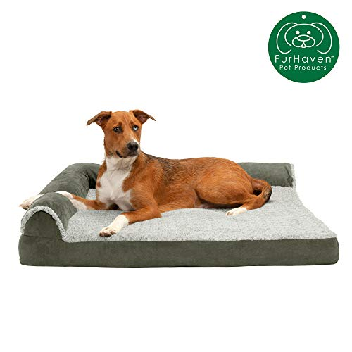 Furhaven Pet Dog Bed | Deluxe Cooling Gel Memory Foam Two-Tone Plush Faux Fur & Suede L Shaped...