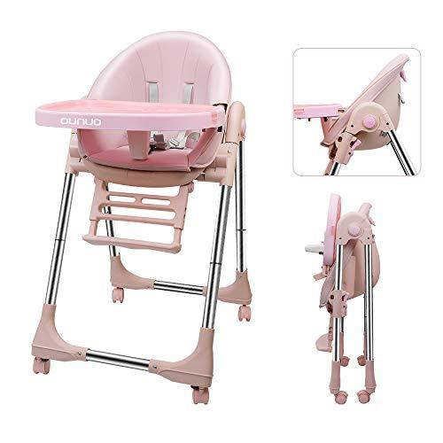 OUNUO Baby Hochstuhl Vertehllbar und Klappbar kinderhochstuhl mitwachsend Kindersitz Kinderstuhl mit Sicherheitsgurt 6 Monaten bis 6 Jahre PU Leder Kissen (Rosa)