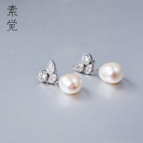 BAGEHAN Handmade 925 Silber Zirkon geformte Perle Ohrringe Lady sü Temperament Ohrschmuck Ohrringe Zirkon besondere Perle Ohrh er