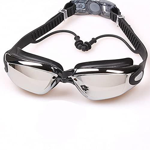 JFCXBSSL Gafas de natación 15,7 cm negro masculino femenino adulto silicona natación gafas anti-niebla e impermeable galvanoplastia natación gafas con tapones para los oídos