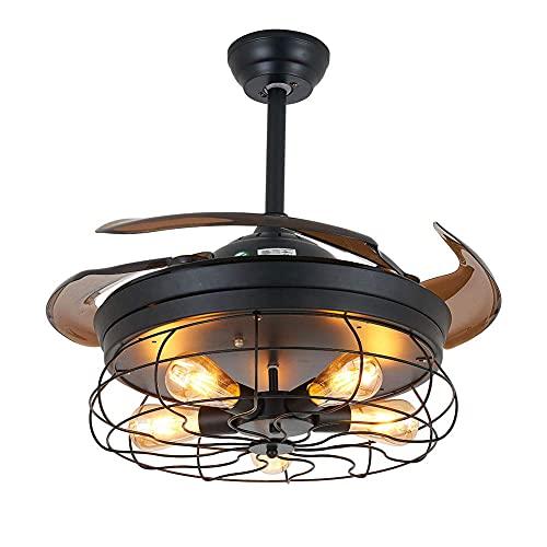 Beeki Ventilador de techo con luz y control remoto 36 pulgadas retráctiles de 36 pulgadas Atractivos de techo retro con luces y vintage remoto Enes vintage Fans de araña invisible Chandelier Fan Light