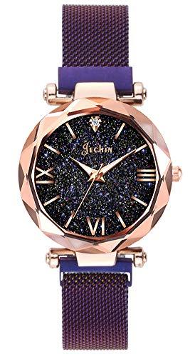 Jechin Fashion Women's Starry Sky Watch Purple Magnetic Buckle Bracelet Watches