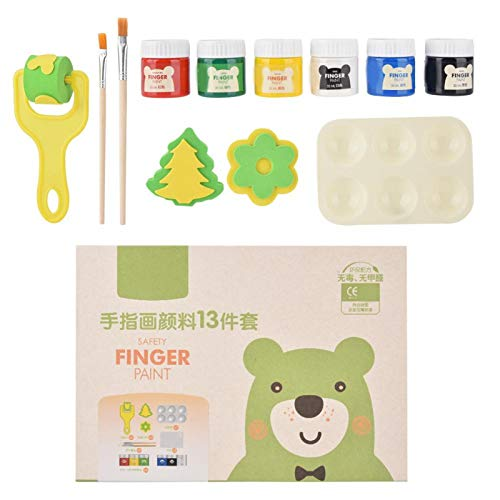 Kit de pintura de dedos de seguridad para niños brillantes, delicada fórmula soluble en agua, pigmento de pintura para dedos, suministros de pintura para niños, fácil de lavar