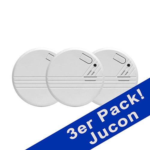Jucon 3er-Set Rauchmelder, Feuermelder, geprüft nach EN 14604