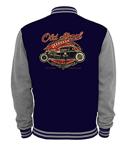Ethno Designs - Old School Gearhead - Hot Rod Veste College pour femmes et Hommes - Old School Rockabilly Vintage Retro Style - bleu marine,sportsgris, taille M