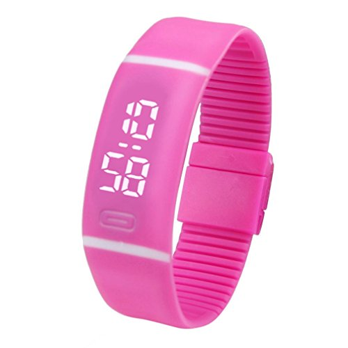 Yesmile Relojes❤️Reloj para Hombre de Goma LED para Mujer Fecha Reloj Deportivo Pulsera Reloj Digital (Rosa Caliente)