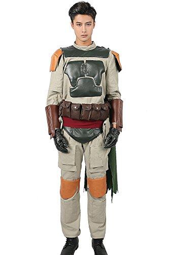 Disfraz de Boba Fett para adulto, cosplay SW para hombre, traje completo con cinturón y capa de Halloween