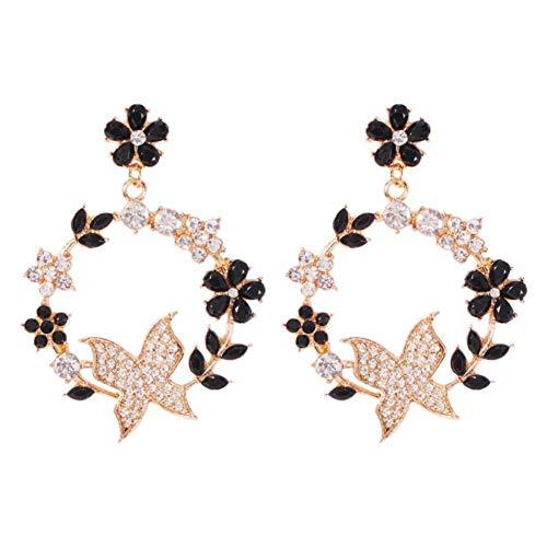 Nikgic Pendientes de aleación de moda para mujer Aretes colgantes de flores de diamantes de colores Adecuado para citas y pendientes de damas de todos los días Regalo de San Valentín,Negro
