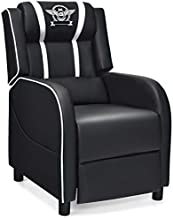 Giantex Gaming Recliner Chair, Racing Style Single Recliner Sofa w/Cushion, Adjustable PU Leather Recliner Home Theater Seat for Living Room (White)
