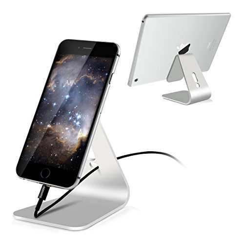 kwmobile Supporto Tablet Sostegno per Smartphone/Tablet - Supporto Universale in Alluminio per Cellulare e Tablet Sostegno da tavola Station