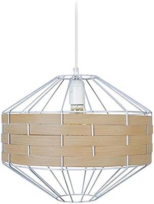 Tosel 17255 - Lampadario a sospensione, 1 luce, in acciaio, E27, 40 W, 30 x 90 cm, colore: Bianco