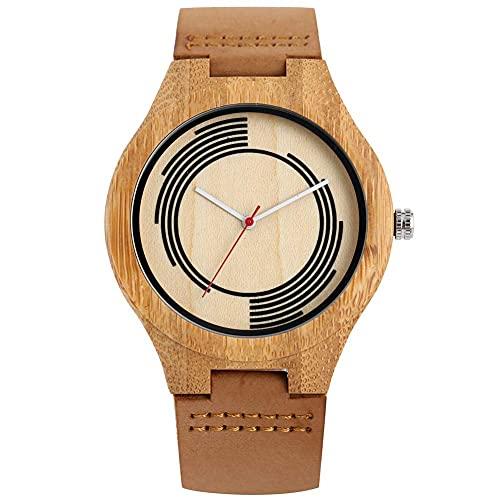 HYLX Elegante Reloj de Cuarzo para Hombre, Relojes de Madera de Cuero Genuino para Novio, Reloj de Pulsera de Madera conciso con Hebilla para Marido