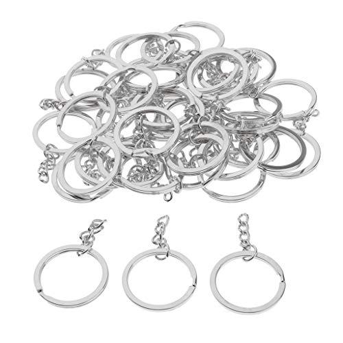 Sharplace 30 Stück Schlüsselringe mit Kette, Legierung Schlüsselanhänger für Handwerk, Durchmesser 30 mm - Silber