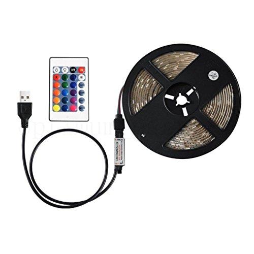 Tiras LED Tv ,Logobeing 50-200Cm USB LED Strip Light tv Back Lámpara 5050Rgb Cambio de Color + Control Remoto (C(200CM))