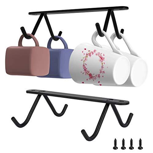 Soporte para Tazas de Café Estante para Tazas de Hierro Multifuncional Soporte para Copas de Armario Para Utensilios de Cocina de Bar Negro 2 Piezas