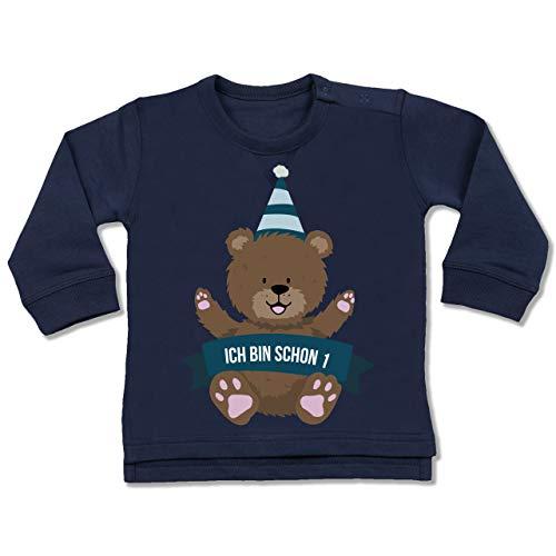 Shirtracer Geburtstag Baby - Ich Bin Schon 1 Bär - 18/24 Monate - Navy Blau - 1 Geburtstag mädchen - BZ31 - Baby Pullover