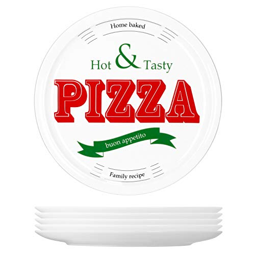 MamboCat 6-er Set Pizzateller Hot & Tasty Ø 30cm große weiße Teller aus Steingut zum Anrichten für Pizza und Co oder als Steingutplatten zum Servieren von Wurst und Käse I Pizza Teller mit Motiv