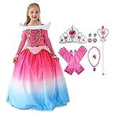 Aurora fancy dress up costume per le ragazze, principessa di carnevale dei costumi di bellezza cosplay letto, gradienti abito di colore costume cosplay compleanno principessa con gli accessori insieme dei monili, bacchetta diadema collana guanto orec...