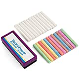 Emraw Eraser 12 White Chalk Dustless Chalk Non-Toxic 12 Color Chalkboard School Office and Sidewalk Outdoor Chalk Block Bundle for Art and Home Board Chalk with Eraser Pack of 25